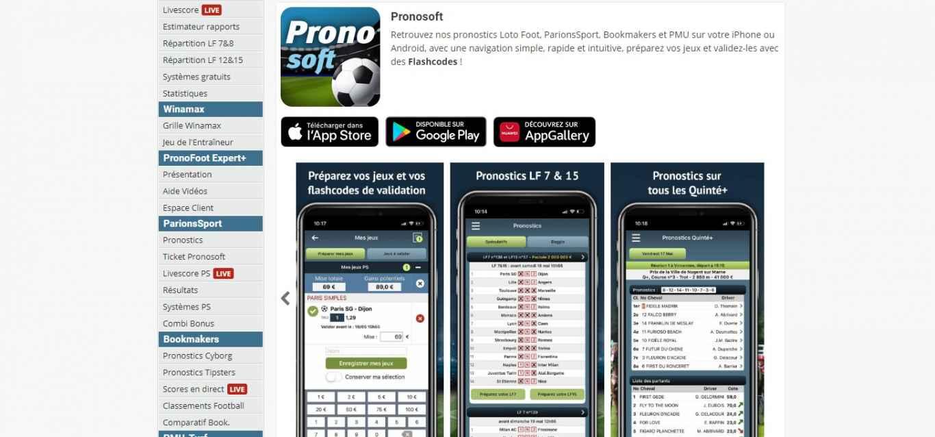 Télécharger Pronosoft application pour ios et android